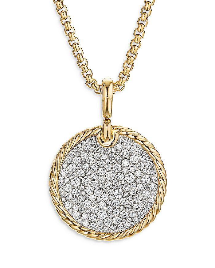 David Yurman - 18K Yellow Gold DY Elements® Disc Pendant with Diamonds