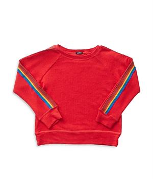Monrow Girls' Rainbow Stripe Sweatshirt - Little Kid, Big Kid