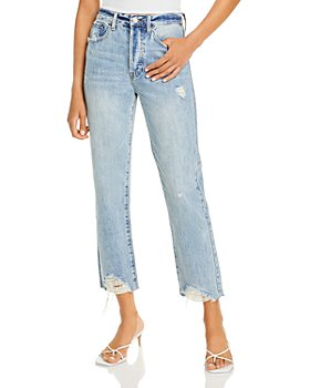Pistola - Charlie Cotton Ripped Straight Jeans in Light Blue