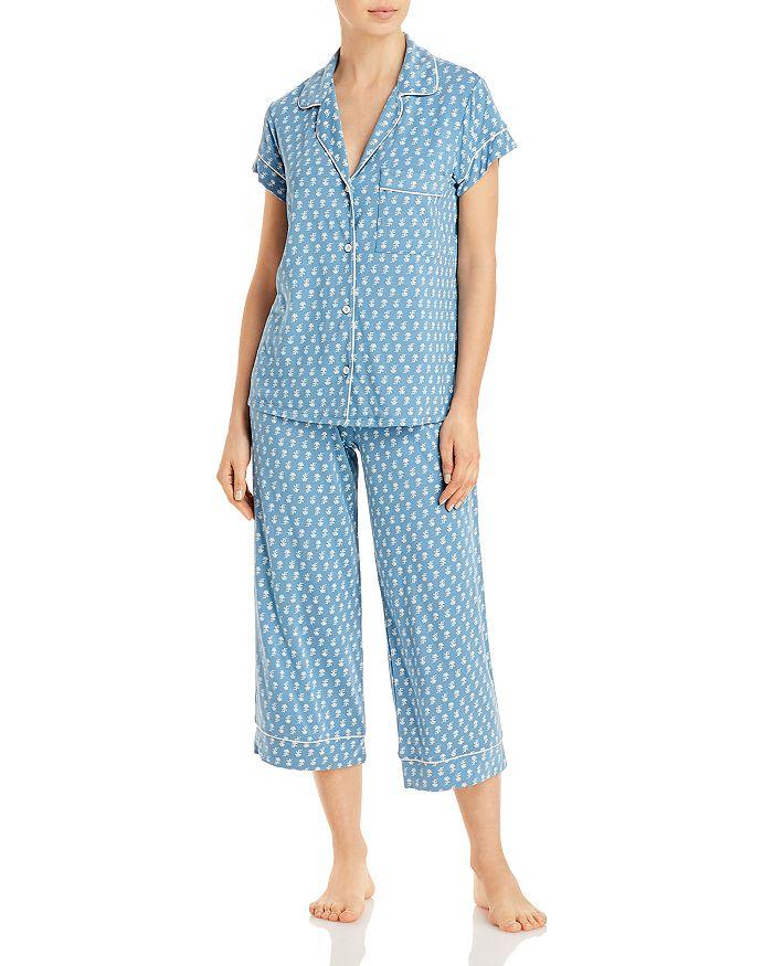 Eberjey Gisele Floral Print Capri Pajama Pants Set In Daisy Blue Shadow/bellini