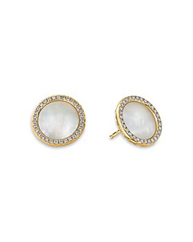 David Yurman - 18K Yellow Gold DY Elements® Button Earrings with Mother of Pearl & Diamonds
