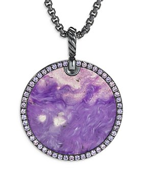 David Yurman - Sterling Silver DY Elements® Artist Series Disc Pendant with Chariote & Purple Sapphires