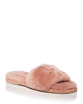 Tory Burch - Women's Double T Fluffy Slippers