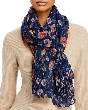 Pleated Floral Scarf