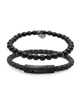 THOMPSON OF LONDON - Agate Bead & Woven Leather Bracelet Set, Medium