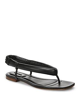 Vince - Women's Denton Square Toe Black Leather Slingback Thong Sandals
