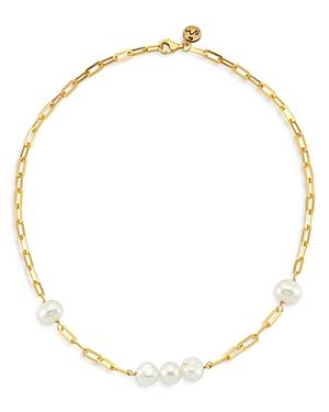 Maison Irem 18K Gold-Plated Grace Pearl Link Necklace, 16.5