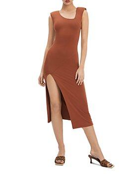 Good American - Front Slit Knit Midi Dress