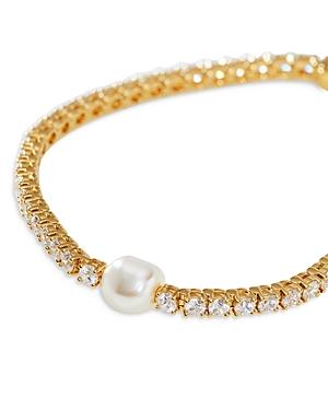 Nadri Boheme Cubic Zirconia & Simulated Pearl Line Bracelet
