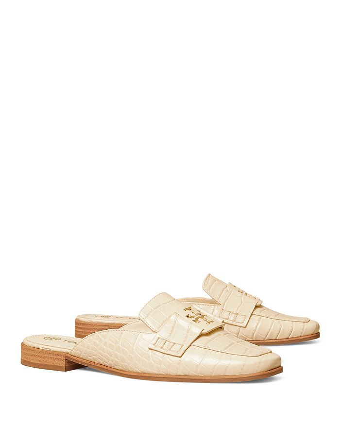 Tory Burch - Women's Georgia T Monogram Embossed Leather Slide Loafers