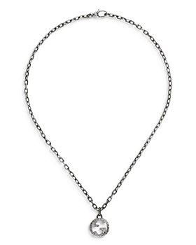 "Gucci - Sterling Silver Interlocking G Pendant Necklace, 17.5"""