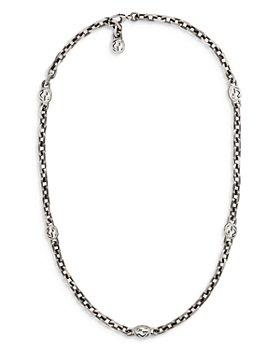 "Gucci - Sterling Silver Interlocking Chain Necklace, 23.6"""