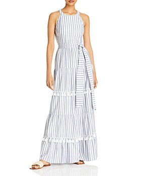 Eliza J - Striped Tassel Trim Maxi Dress