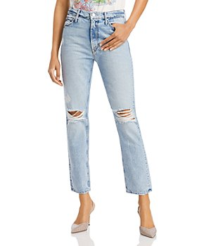 MOTHER - The Dazzler Slim Fit Distressed Ankle Jeans in Lost It