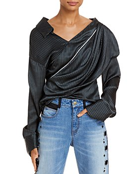Hellessy - Halsey Houndstooth Asymmetric Silk Top - 100% Exclusive