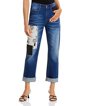 Hellessy - Montgomery Patched Boyfriend Jeans in Dark Wash