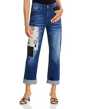 Montgomery Patched Boyfriend Jeans in Dark Wash
