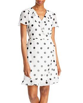 KARL LAGERFELD PARIS - Polka Dot Faux Wrap Dress