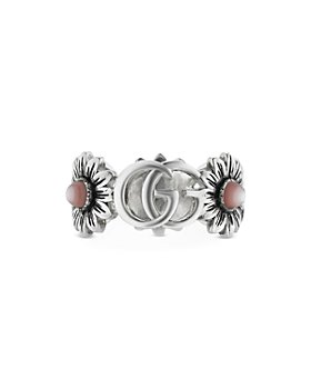 Gucci - Sterling Silver Marmont Mother of Pearl Flower & Logo Ring