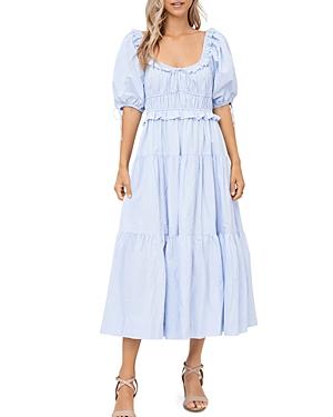 Poplin Puff-Sleeve Tiered Midi Dress