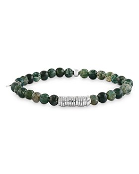 Tateossian - Green Moss Agate Beaded Bracelet with Sterling Silver Spacer Discs