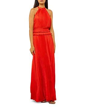 BCBGMAXAZRIA - Pleated Halter Gown