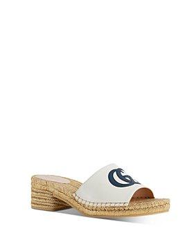 Gucci - Women's Espadrille Block Heel Slide Sandals