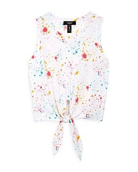 AQUA - Girls' Paint Splatter Tie Front Top, Big Kid - 100% Exclusive