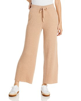 C by Bloomingdale's - Ribbed Cashmere Wide Leg Pants - 100% Exclusive