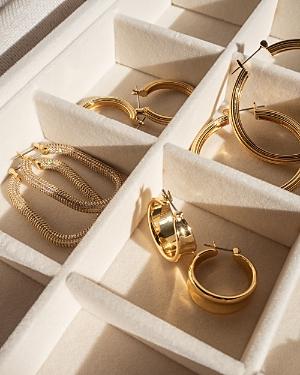 Dionne Hoop Earrings in Gold Tone