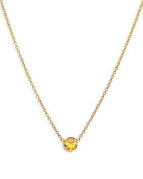 """Zoe Lev - 14k Gold Birthstone Bezel Necklace, 16-18"""""""