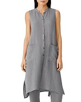 Eileen Fisher - Mandarin Collar Long Sleeveless Shirt