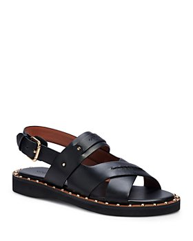 COACH - Women's Gemma Studded Crossover Leather Sandals