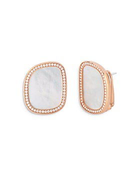 Roberto Coin - 18K Rose Gold Stud Earrings with Mother of Pearl & Diamonds