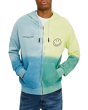 Eleven Paris Color Block Smiley Zip Hoodie