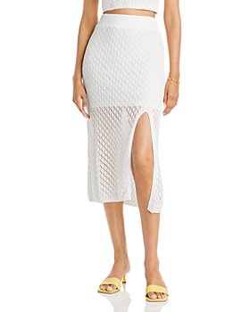AQUA - Amara Illusion Crochet Midi Skirt - 100% Exclusive