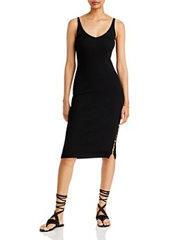 AQUA - Liana Ribbed Knit Midi Dress - 100% Exclusive