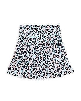 AQUA - Girls' Leopard Smocked Ruffle Skirt - Big Kid