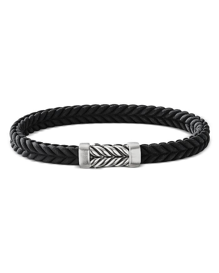 David Yurman - Men's Sterling Silver Chevron Black Rubber Bracelet