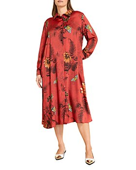 Marina Rinaldi - Floral Twill Midi Shirtdress