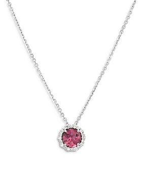 """Bloomingdale's - Pink Tourmaline & Diamond Halo Pendant Necklace in 14K White Gold, 16"""" - 100% Exclusive"""
