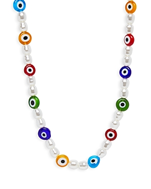 Aqua Simulated Pearl & Glass Necklace, 14.3 - 100% Exclusive