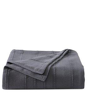 Vera Wang - Open Stripe Cotton Charcoal King Blanket