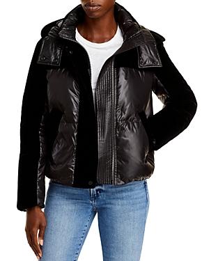 Velvet Mixed Media Puffer Coat