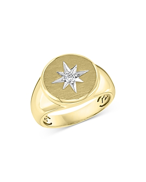 Bloomingdale's Men's Diamond Star Signet Ring in 14K Yellow Gold, 0.10 ct. t.w. - 100% Exclusive