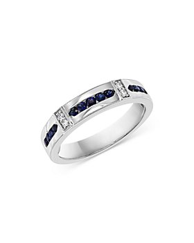Bloomingdale's - Men's Blue Sapphire & Diamond Band Ring in 14K White Gold - 100% Exclusive