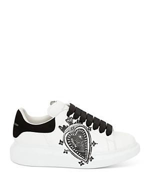 Alexander McQUEEN Women's Leather Heart Logo Lace Up Sneakers