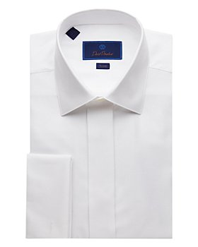 David Donahue - Diamond Jacquard Trim Fit Tuxedo Shirt