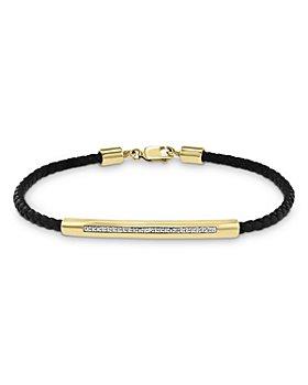 Bloomingdale's - Men's Diamond Leather Bracelet in 14K Yellow Gold, 0.10 ct. t.w. - 100% Exclusive