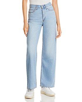 rag & bone - Logan Wide Leg Jeans in Light Tone Linen